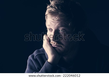 Sad 30s Male - stock photo