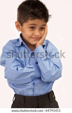 Sad school boy on white isolated - stock photo
