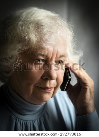 Sad senior caucasian woman - stock photo