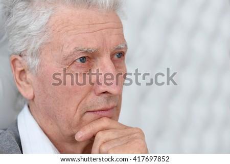 sad senior man - stock photo