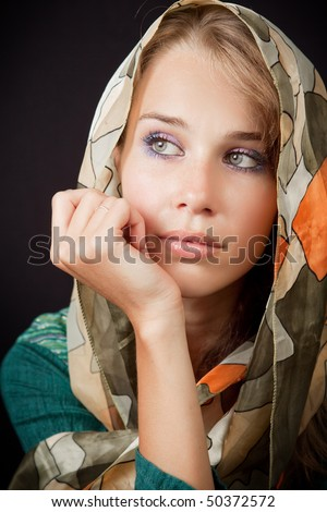 Sad sensual melancholic woman with vail on her head - stock photo