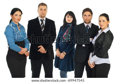 Sad serious five business people standing in a row and looking at camera isolated on white background - stock photo