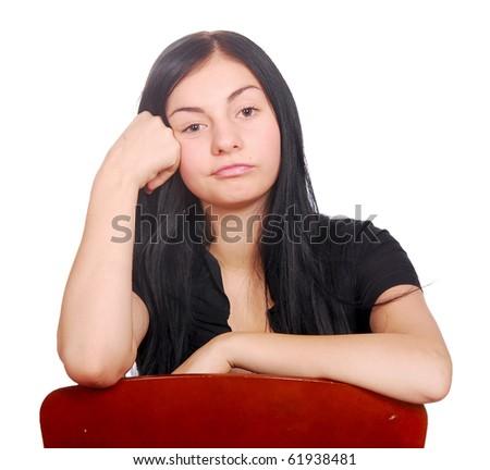 sad teen over white background - stock photo