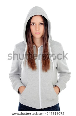 Sad teenager girl with gray sweatshirt hooded isolated on white background - stock photo