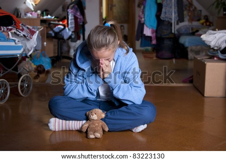 Sad teenager is in depression. - stock photo