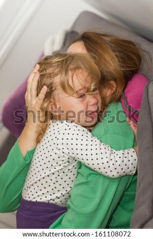Sad unhappy crying little girl. - stock photo