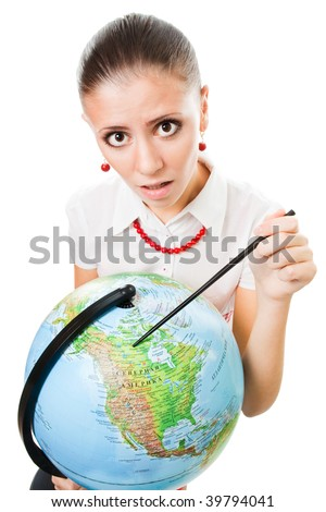 Sad woman, geography teacher with the globe,isolated on white
