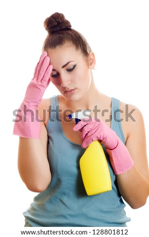 Sad woman in rubber gloves, tired of cleaning isolated on white background - stock photo