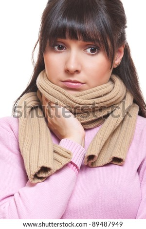 sad woman in scarf have a flu. isolated on white background - stock photo