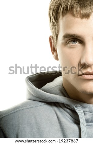 Sad young man over white background - stock photo