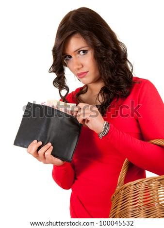 sad young woman looking to the wallet with euro, white background