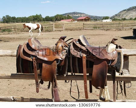 Saddles with a horse in the background - stock photo