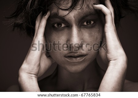 Sadness. Portrait young woman in depression.Creative make-up.