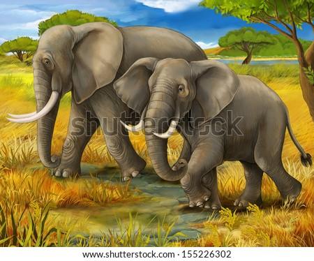 Safari - elephants - illustration for the children - stock photo