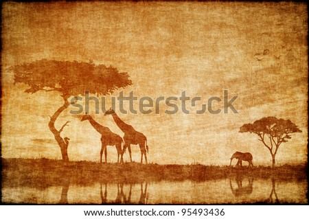 Safari in Africa drawing on ald paper - stock photo