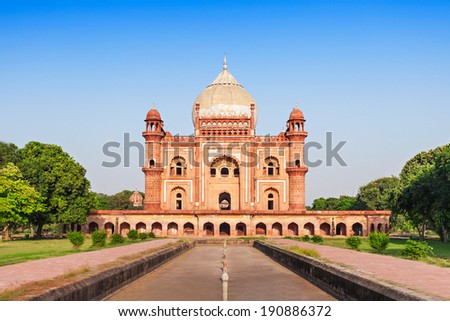 Safdarjung's Tomb is a sandstone and marble mausoleum in New Delhi, India - stock photo