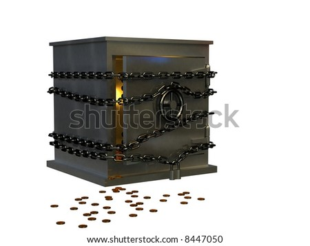 Safe and coins. 3d rendering image. - stock photo