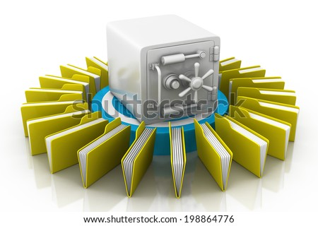 safe and File on white background - stock photo