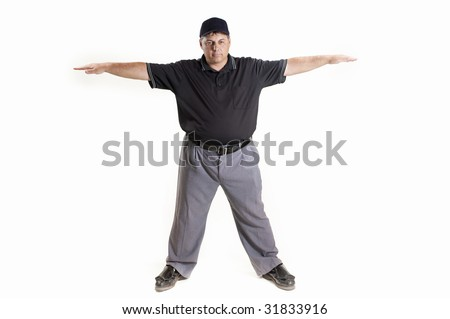 Safe Call Professional baseball umpire on white background - stock photo