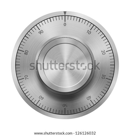 Safe combination lock wheel, isolated on white - stock photo