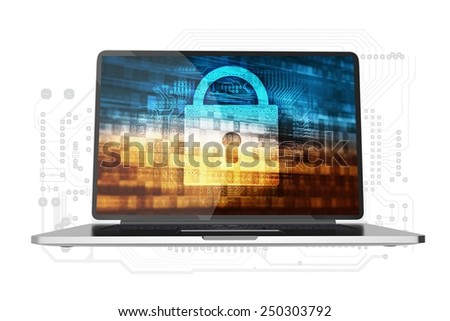 Safe Computer Access Conceptual Illustration. Modern Laptop Computer with Padlock and Digital Background Concept on Display. Laptop Isolated on White. - stock photo