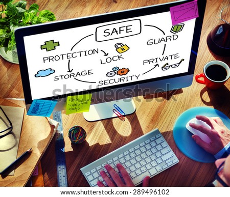 Safe Data Protection Storage Security Guard Concept - stock photo