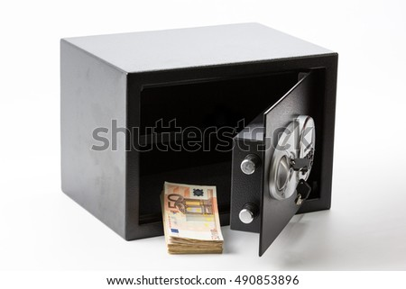 Safe Deposit Box, Pile of Cash Money, Euros. On white background