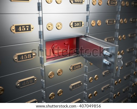 Safe deposit boxes with open one safe cell. 3d illustration - stock photo