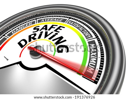 safe driving conceptual meter indicate maximum, isolated on white background - stock photo