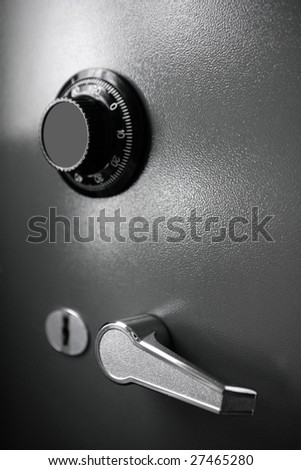Safe gray steel box detail such a currency safety business metaphor - stock photo