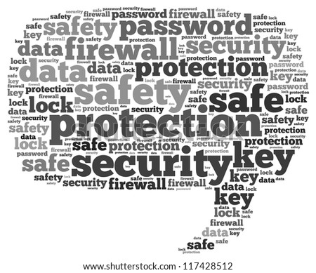 Safe info-text graphics and arrangement concept on white background (word cloud) - stock photo