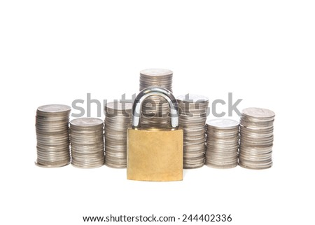 Safe money. a Coins and padlocks isolated on a white background - stock photo