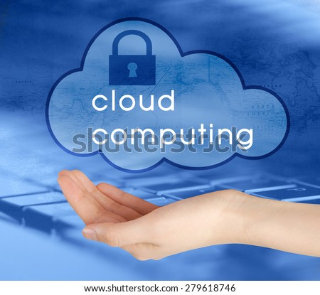 Safe online files and remote informations concept. Human hand  holding locked cloud icon. - stock photo