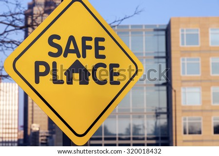 Safe place sign. Seen in downtown of Des Moines, Iowa, USA. - stock photo
