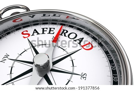 safe road conceptual compass, on white background