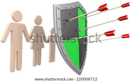 Safe security insurance policy shield protection for family risk - stock photo