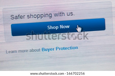 safe shop now and buyer protection screen shot - stock photo