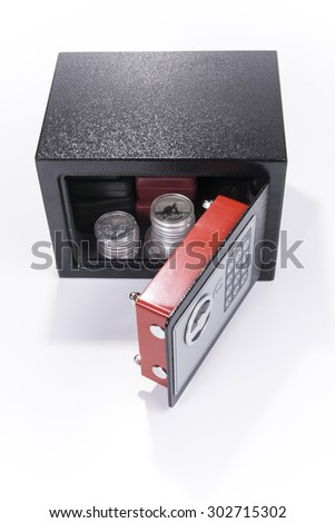 Safe, valuables, coin collection, white background .
