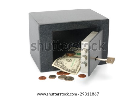 Safe with a dollar bill and change. Isolated on white with clipping path. - stock photo