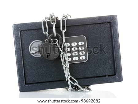 safe with chain and lock isolated on white - stock photo