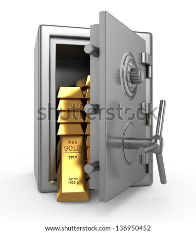 Safe with gold - stock photo
