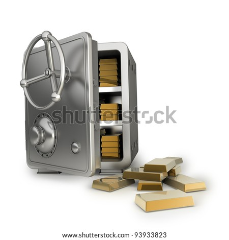 Safe with gold isolated on white background High resolution 3D