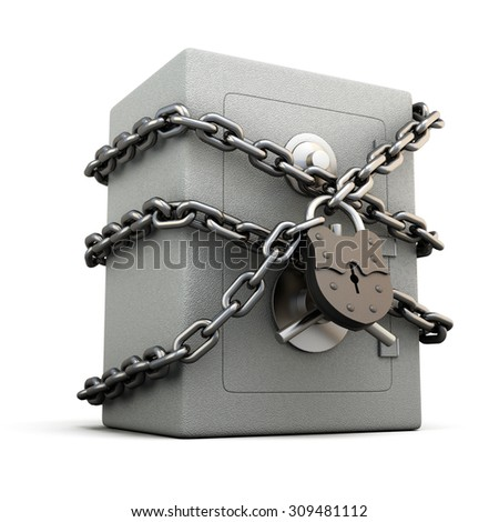 Safe with granary lock isolated on white background. Concept image. 3d illustration. - stock photo