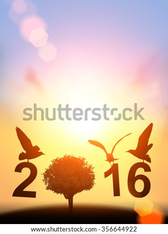 "Safe world  Concept with bird and tree silhouette in "" 2016 "" text on pastel sky background. Happy new year 2016 - stock photo"