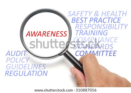 Safety and health at workplace conceptual, focus on the word Awareness