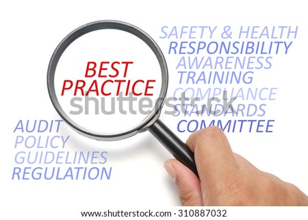 Safety and health at workplace conceptual, focus on the word Best Practice - stock photo
