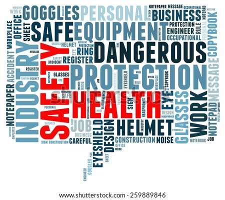 Safety and health in word collage