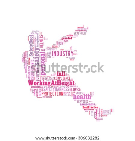 Safety at workplace conceptual emphasis on working at height, presented in word cloud. - stock photo