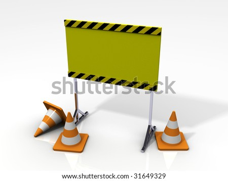 Safety Board with Safety Cones - stock photo