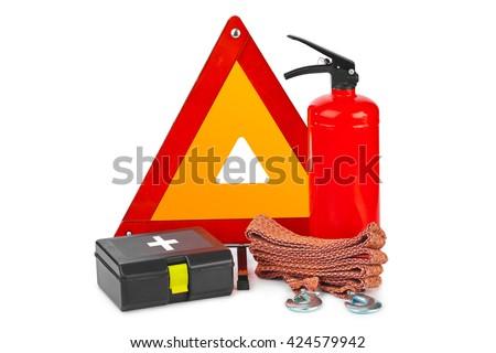Safety car set isolated on white background - stock photo